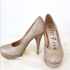 Town Shoes Gold Glittery Platform Heels